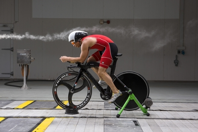 Cyclist in Wind Tunnel