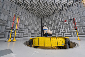 Car seat being testing on Multi-Axis Shaker Table in Anechoic Chamber
