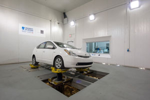 Toyota Prius Having Suspension Testing on the 4-Poster Shaker