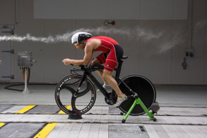 Triathlete in Wind Tunnel