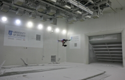 UAV / Drone Flying in a Climatic Wind Tunnel