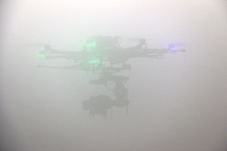UAV Flying in a Cloud Within a Climatic Wind Tunnel