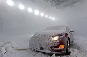 Car in blizzard test