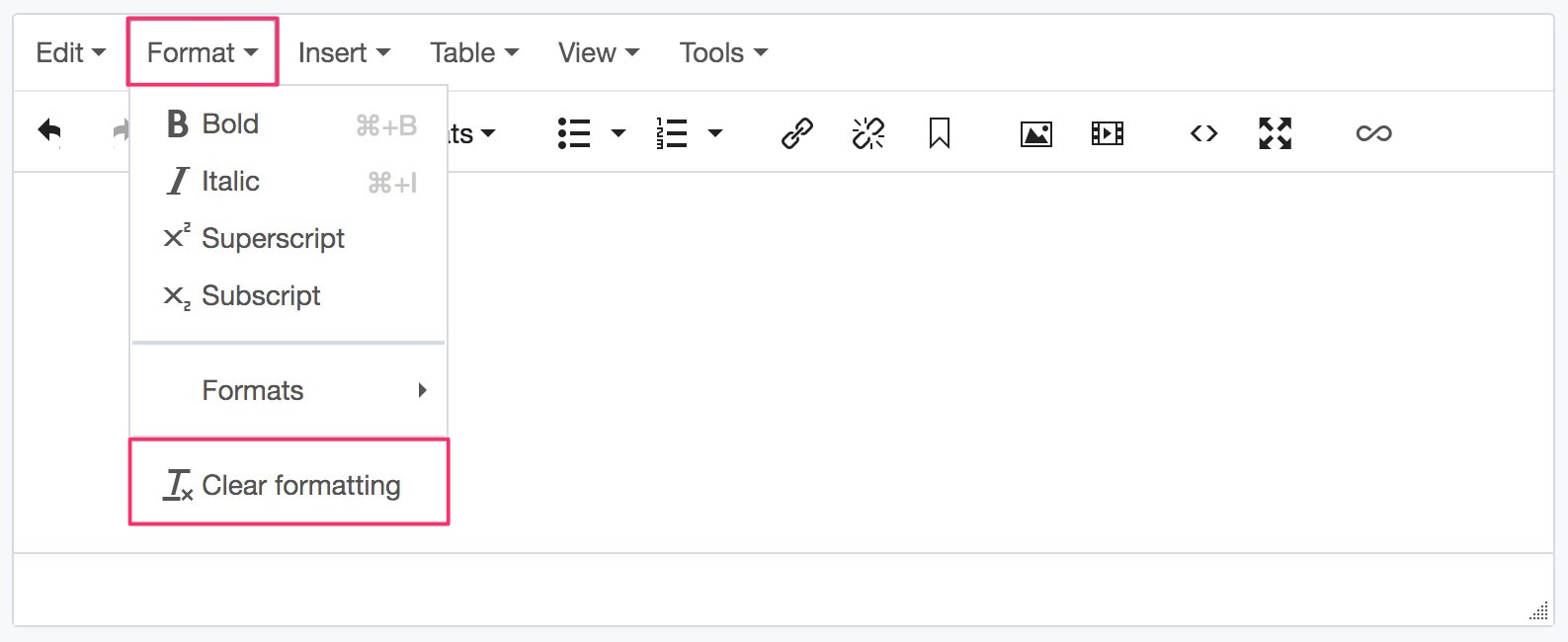 Screenshot of how to remove formatting