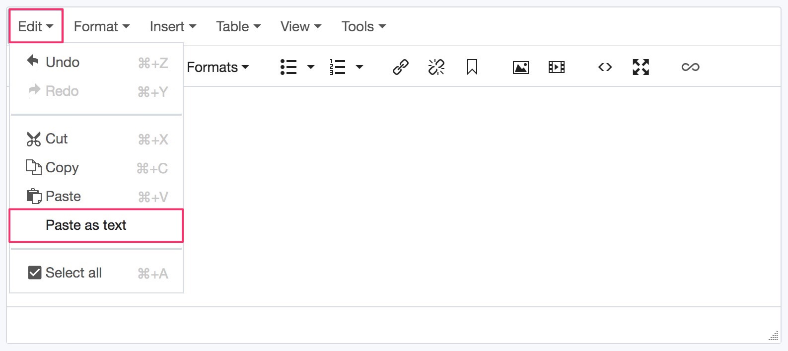 Screenshot of how to paste as plain text