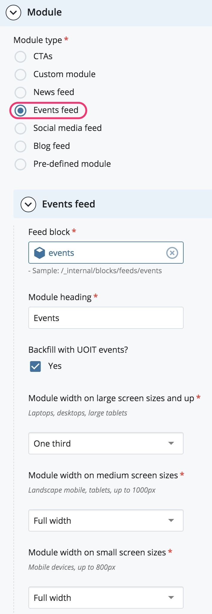 Select News Feed Module option screenshot