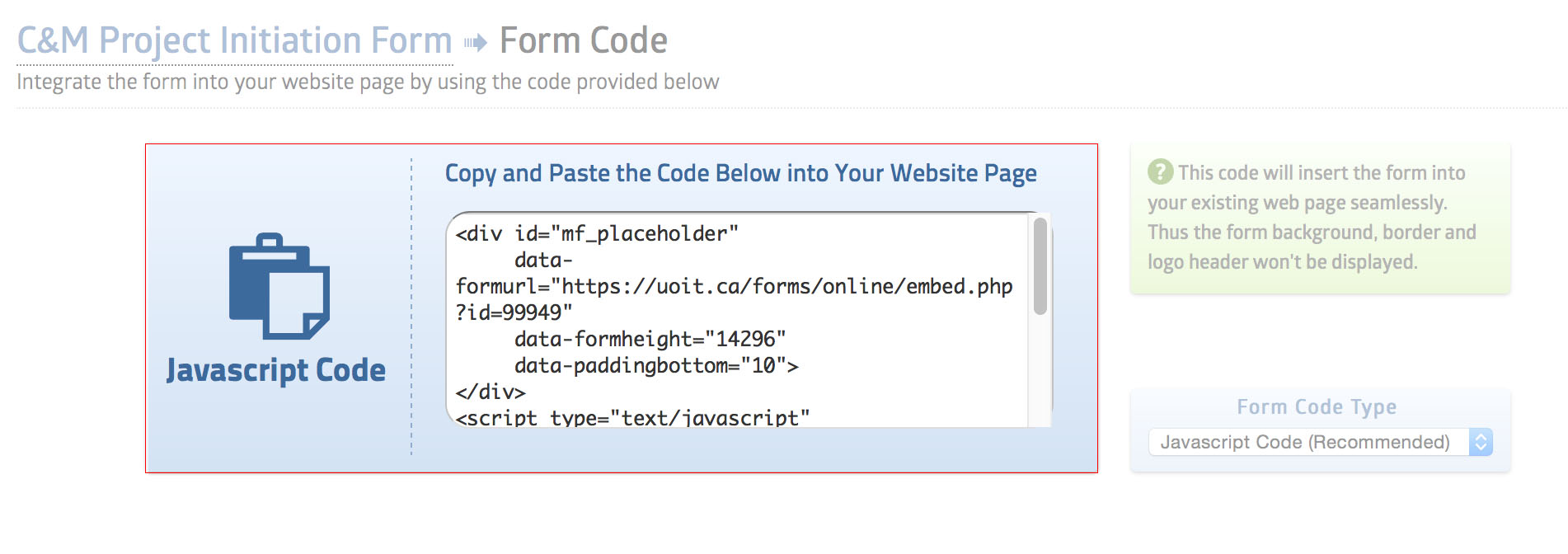 Copy Code screenshot from Machform