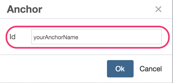 Enter anchor name screeshot