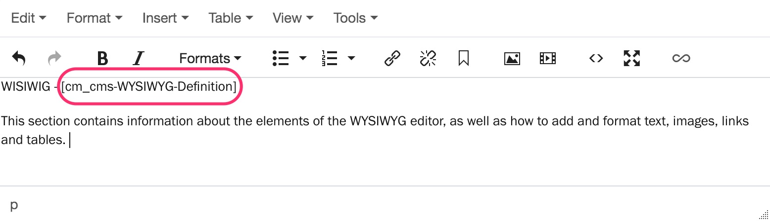 Screenshot: Enter the brick name in square brackets on the page content