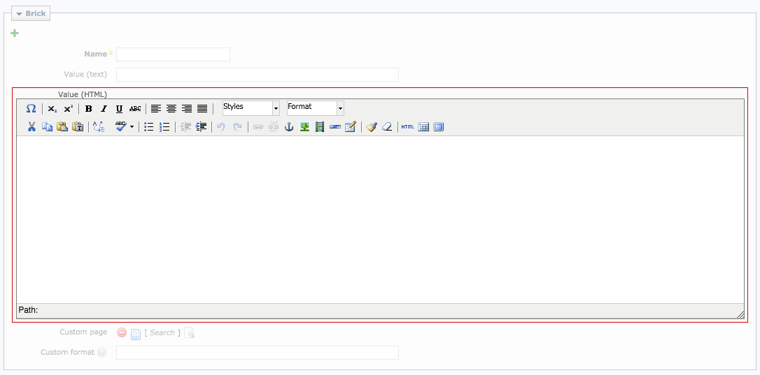 Screenshot: Enter complext brick content in the Value (HTML) field