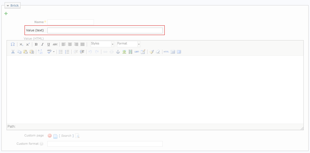 Screenshot: Enter simple brick content in the Value (text) field