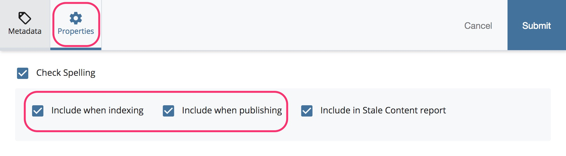 Screenshot: Uncheck Include when publishing and uncheck Include when indexing