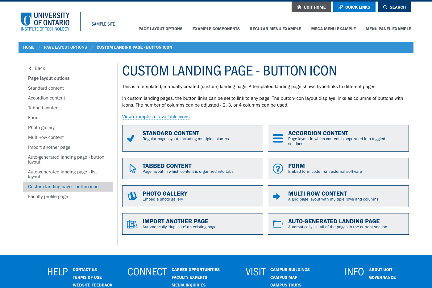 custom landing page button icon