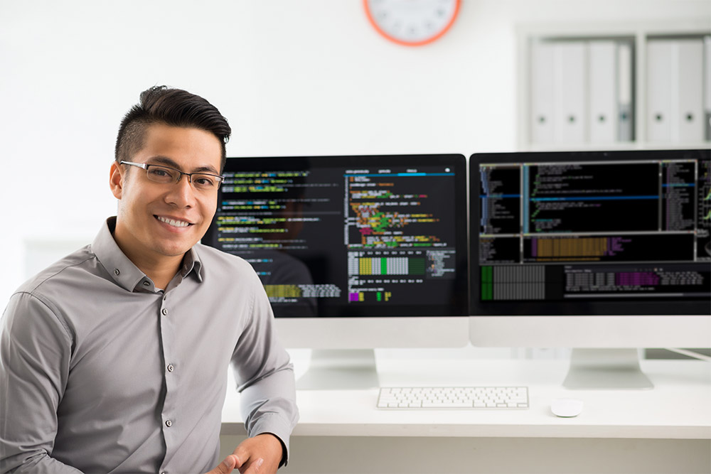Person with computer