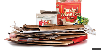 flattened cardboard and pizza boxes