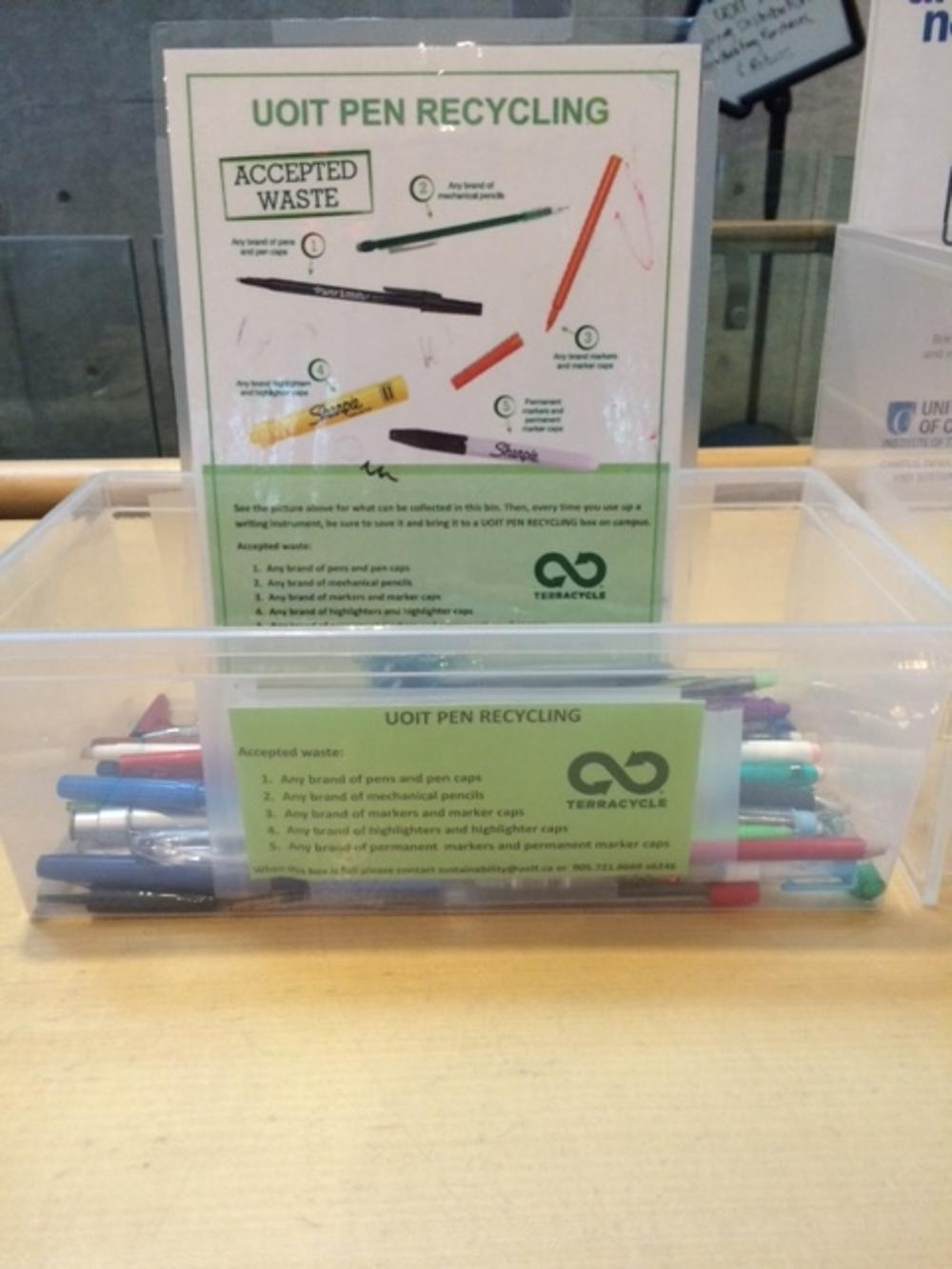 pen recycling box at the north campus library