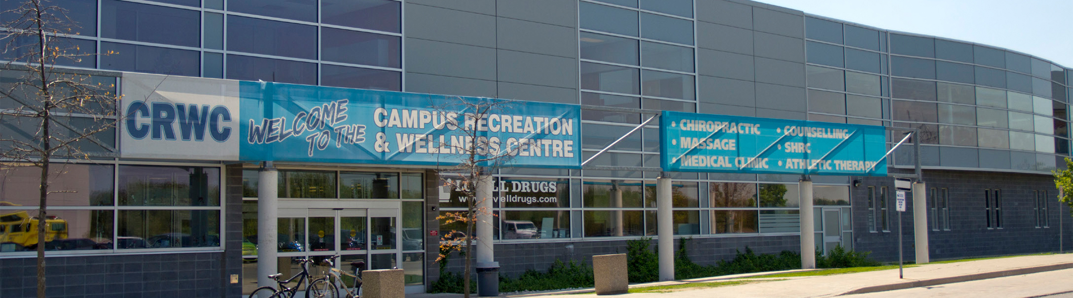 The entrance to the UOIT Campus Recreation and Wellness Centre (CRWC)