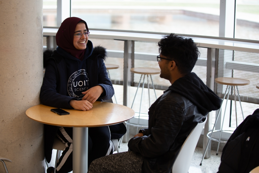 two students having conversation