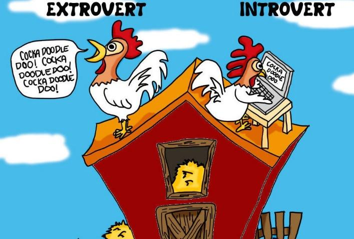 Comic strip with chickens as introverted and extroverted