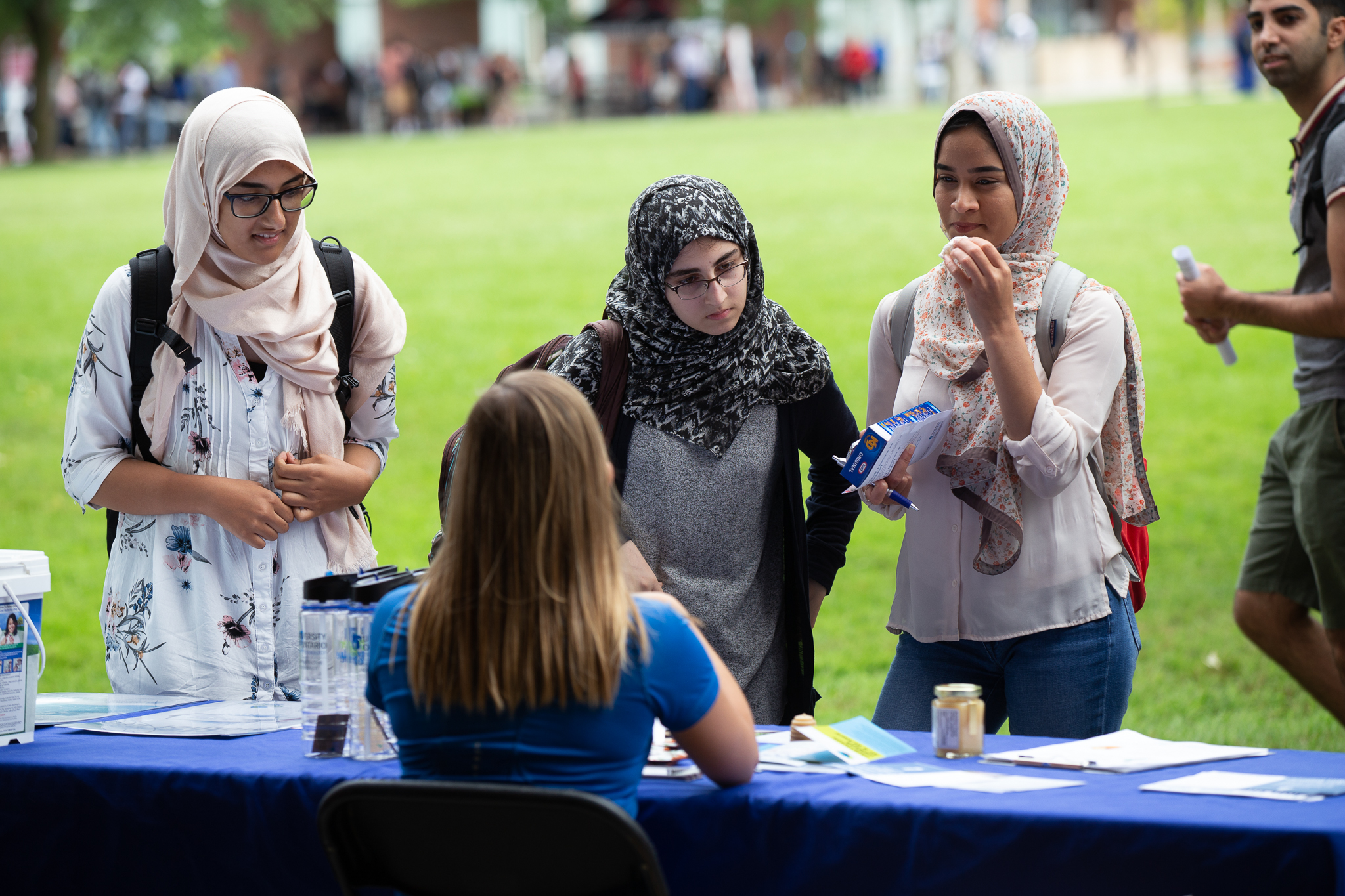 Students at a booth outside