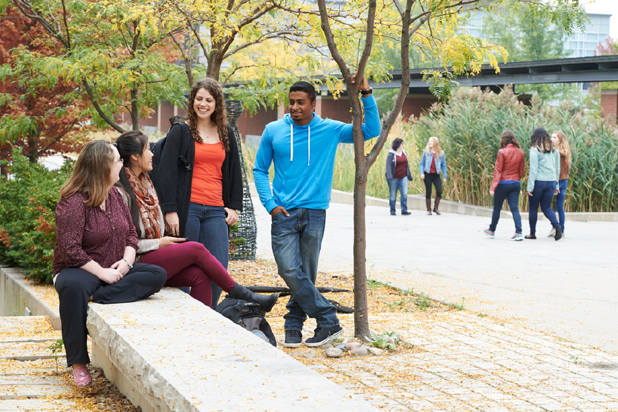 students talking outside of the university campus
