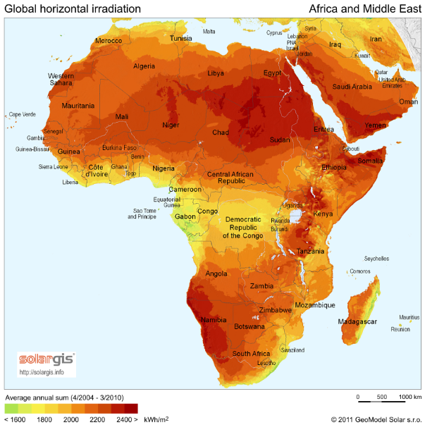 The northern region of Chad experiences roughly 2850-3750 hours of sunlight each year.