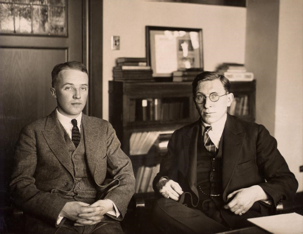 Frederick Banting (right) with Charles H. Best, ca. 1924