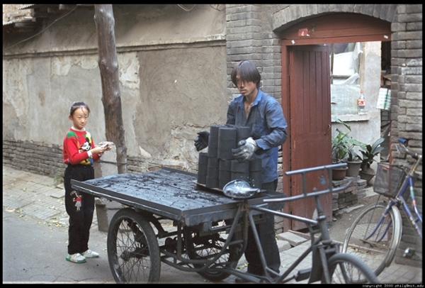 In China, bicycle delivery of coal from home to home is quite common