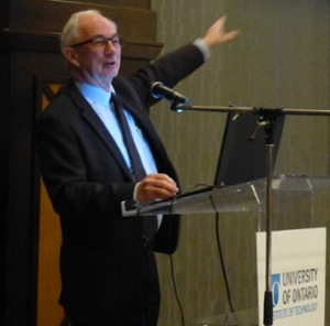 Climate change expert Gordon McBean delivers the keynote presentation