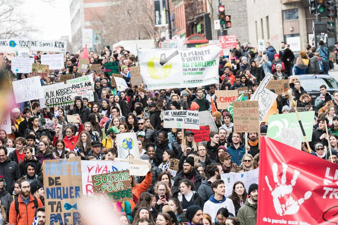 Thousands of climate change protesters flood the streets of Montreal in March 2019. (MARTIN OUELLET-DIOTTE / AFP/GETTY IMAGES)