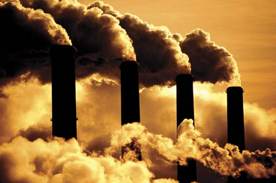 Factories that burn fossil fuels help to cause global warming