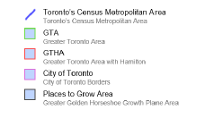 Map of Toronto's 5 boundary schemes (legend)