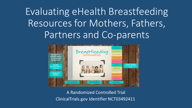 presentation title page (Evaluating eHealth Breastfeeding Resources for Mothers, Fathers, Partners and Co-parents