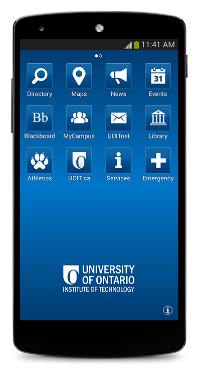 UOIT app in Android display